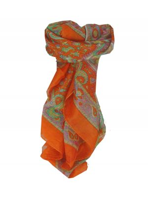 Mulberry Silk Traditional Square Scarf Firoza Tangerine by Pashmina & Silk