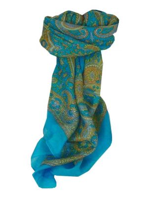 Mulberry Silk Traditional Square Scarf Firoza Aquamarine by Pashmina & Silk