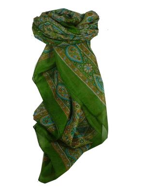 Mulberry Silk Traditional Square Scarf Chiti Sage by Pashmina & Silk