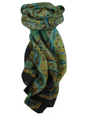 Mulberry Silk Traditional Square Scarf Chiti Black by Pashmina & Silk