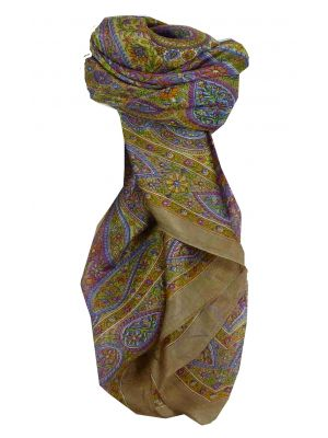 Mulberry Silk Traditional Square Scarf Chiti Ecru by Pashmina & Silk