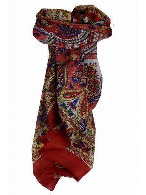 Mulberry Silk Traditional Square Scarf Colaba Red by Pashmina & Silk