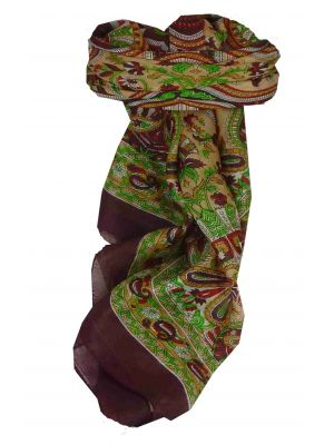 Mulberry Silk Traditional Square Scarf Colaba Maroon by Pashmina & Silk