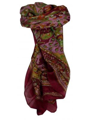 Mulberry Silk Traditional Square Scarf Dawa Wine by Pashmina & Silk