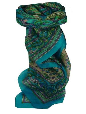 Mulberry Silk Traditional Square Scarf Dawa Aquamarine by Pashmina & Silk