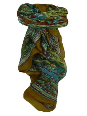 Mulberry Silk Traditional Square Scarf Dawa Caramel & Blue by Pashmina & Silk