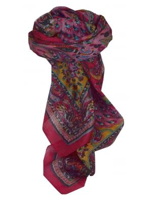 Mulberry Silk Traditional Square Scarf Dawa Cerise by Pashmina & Silk