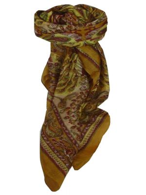 Mulberry Silk Traditional Square Scarf Dawa Caramel & Pink by Pashmina & Silk