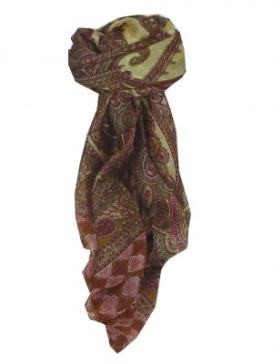 Mulberry Silk Traditional Square Scarf Bibi Caramel by Pashmina & Silk
