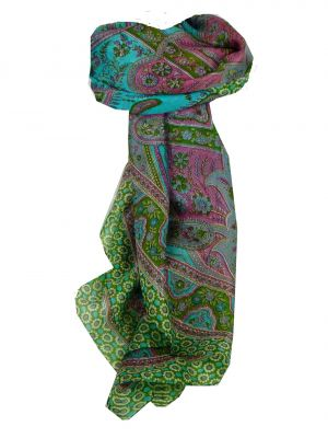 Mulberry Silk Traditional Square Scarf Ami Green & Pearl by Pashmina & Silk
