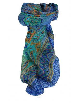 Mulberry Silk Traditional Square Scarf Ami Blue & Aquamarine by Pashmina & Silk