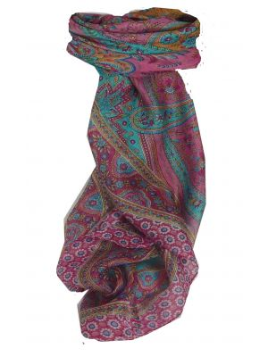 Mulberry Silk Traditional Square Scarf Ami Cerise & Aquamarine by Pashmina & Silk