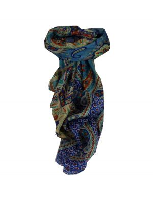 Mulberry Silk Traditional Square Scarf Ami Blue & Terracotta by Pashmina & Silk