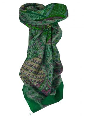Mulberry Silk Traditional Square Scarf Ajanta Green by Pashmina & Silk