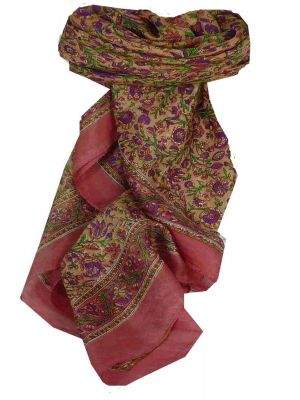 Mulberry Silk Traditional Square Scarf Affya Rose by Pashmina & Silk