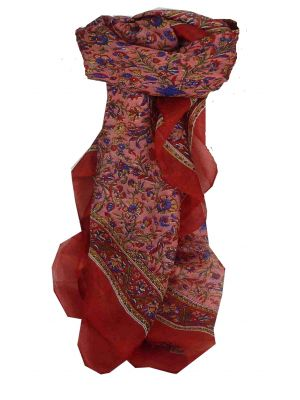 Mulberry Silk Traditional Square Scarf Affya Red by Pashmina & Silk