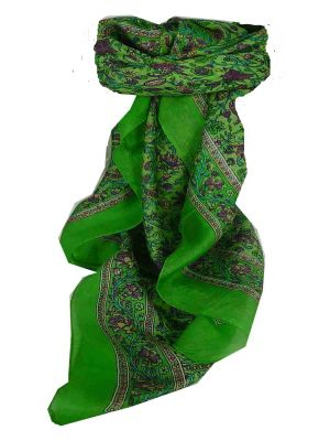 Mulberry Silk Traditional Square Scarf Affya Citron Vert by Pashmina & Silk