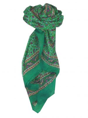 Mulberry Silk Traditional Square Scarf Abbe Teal by Pashmina & Silk