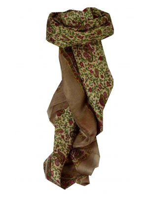Mulberry Silk Traditional Square Scarf Abbe Caramel by Pashmina & Silk