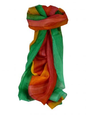 Mulberry Silk Hand Dyed Long Scarf Mehta Rainbow Palette from Pashmina & Silk
