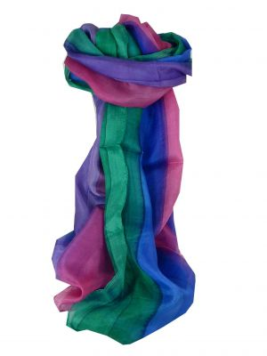 Mulberry Silk Hand Dyed Long Scarf Kher Rainbow Palette from Pashmina & Silk