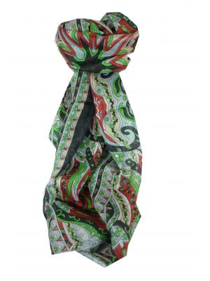 Mulberry Silk Traditional Long Scarf Sita Black by Pashmina & Silk