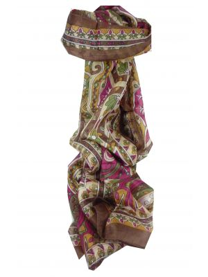 Mulberry Silk Traditional Long Scarf Sita Chestnut by Pashmina & Silk