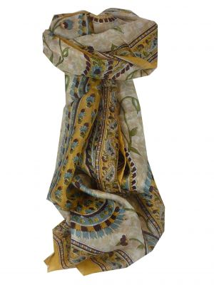 Mulberry Silk Traditional Long Scarf Sonja Cream by Pashmina & Silk