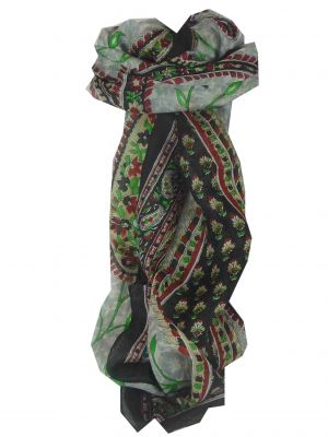 Mulberry Silk Traditional Long Scarf Sonja Black by Pashmina & Silk
