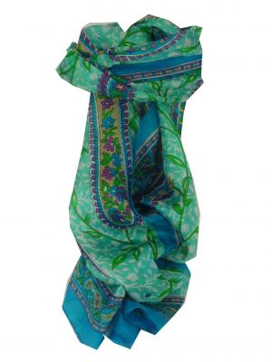 Mulberry Silk Traditional Long Scarf Sonja Aquamarine by Pashmina & Silk