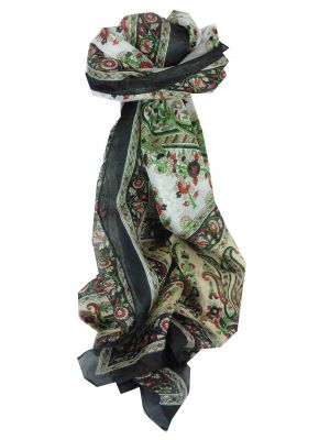 Mulberry Silk Traditional Long Scarf Suki Black by Pashmina & Silk