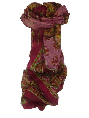 Mulberry Silk Traditional Long Scarf Suru Burgundy by Pashmina & Silk