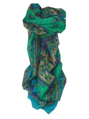 Mulberry Silk Traditional Long Scarf Suru Sky by Pashmina & Silk