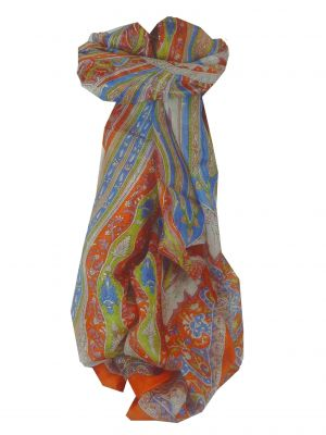 Mulberry Silk Traditional Long Scarf Tulisa Tangerine by Pashmina & Silk