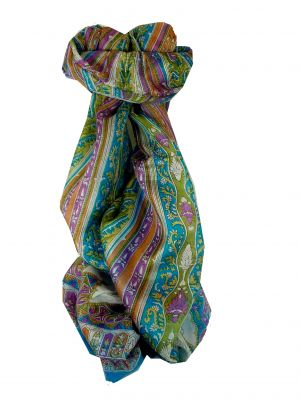 Mulberry Silk Traditional Long Scarf Tulisa Aquamarine by Pashmina & Silk