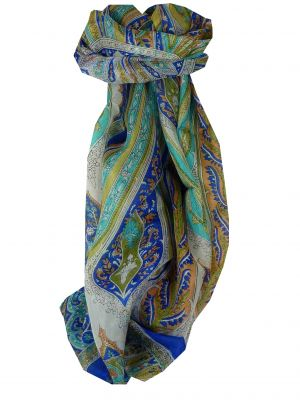 Mulberry Silk Traditional Long Scarf Tulisa Blue by Pashmina & Silk