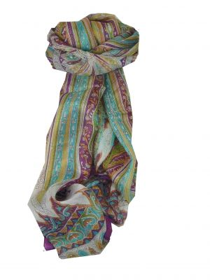 Mulberry Silk Traditional Long Scarf Tulisa Violet by Pashmina & Silk