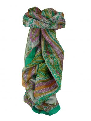 Mulberry Silk Traditional Long Scarf Tulisa Green by Pashmina & Silk