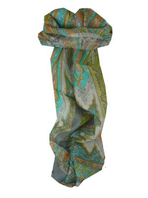Mulberry Silk Traditional Long Scarf Tulisa Grey by Pashmina & Silk