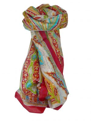 Mulberry Silk Traditional Long Scarf Tulisa Fuchsia by Pashmina & Silk