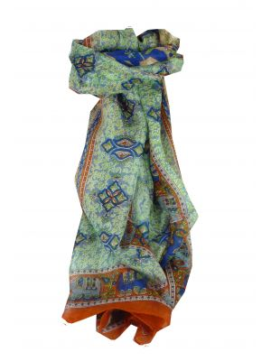 Mulberry Silk Traditional Long Scarf Rei Copper & Blue by Pashmina & Silk