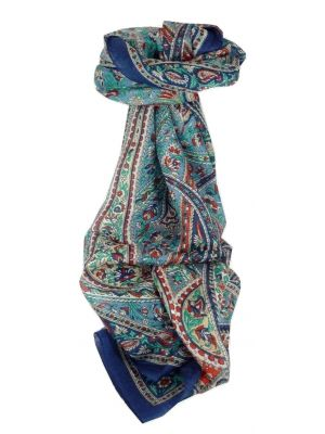 Mulberry Silk Traditional Long Scarf Riya Blue by Pashmina & Silk