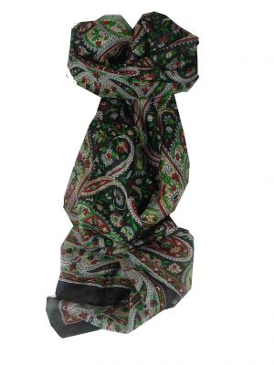 Mulberry Silk Traditional Long Scarf Palai Black by Pashmina & Silk