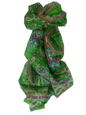Mulberry Silk Traditional Long Scarf Palai Green by Pashmina & Silk