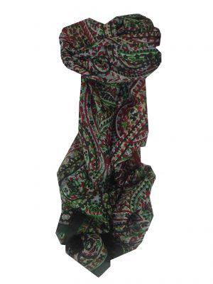 Mulberry Silk Traditional Long Scarf Panaji Black by Pashmina & Silk