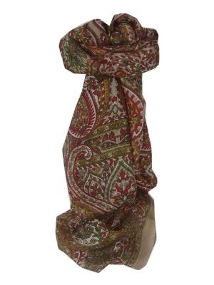 Mulberry Silk Traditional Long Scarf Panaji Brown by Pashmina & Silk