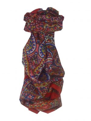 Mulberry Silk Traditional Long Scarf Panaji Red by Pashmina & Silk