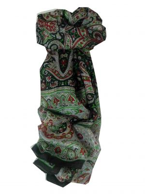 Mulberry Silk Traditional Long Scarf Raxaul Black by Pashmina & Silk