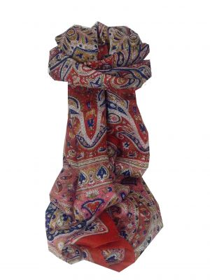 Mulberry Silk Traditional Long Scarf Raxaul Red by Pashmina & Silk