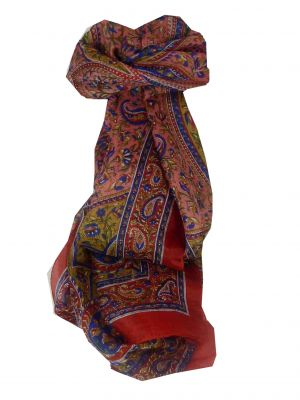 Mulberry Silk Traditional Long Scarf Marni Red by Pashmina & Silk